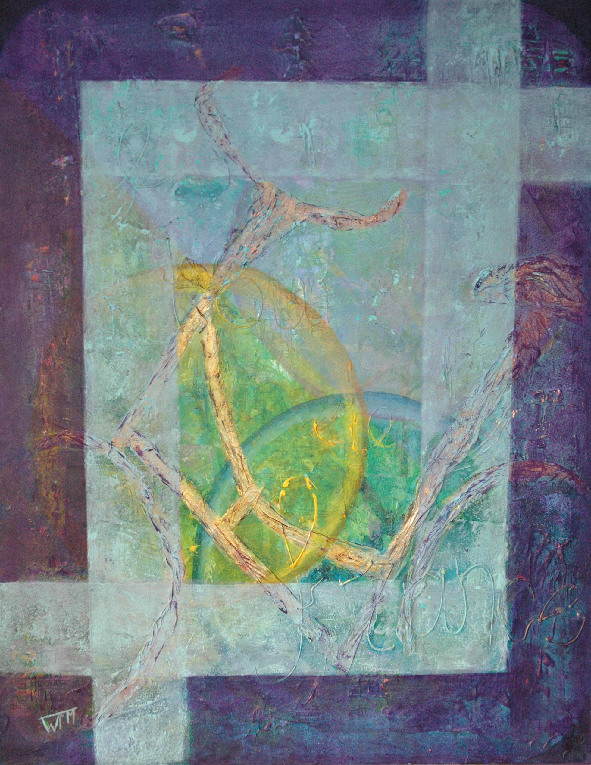 90 x 70 x 4cm, acryl op katoen, collage, met gebruik van materialen (textuur), €375,-