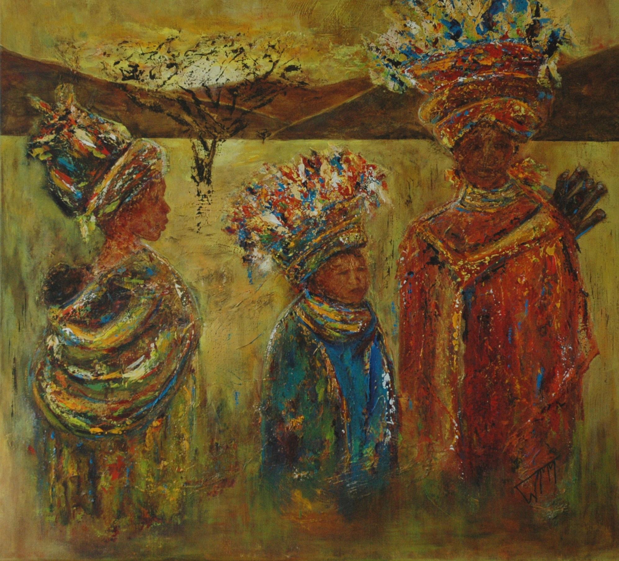100 x 100cm, acryl op linnen, met gebruik van materialen (textuur), verkocht