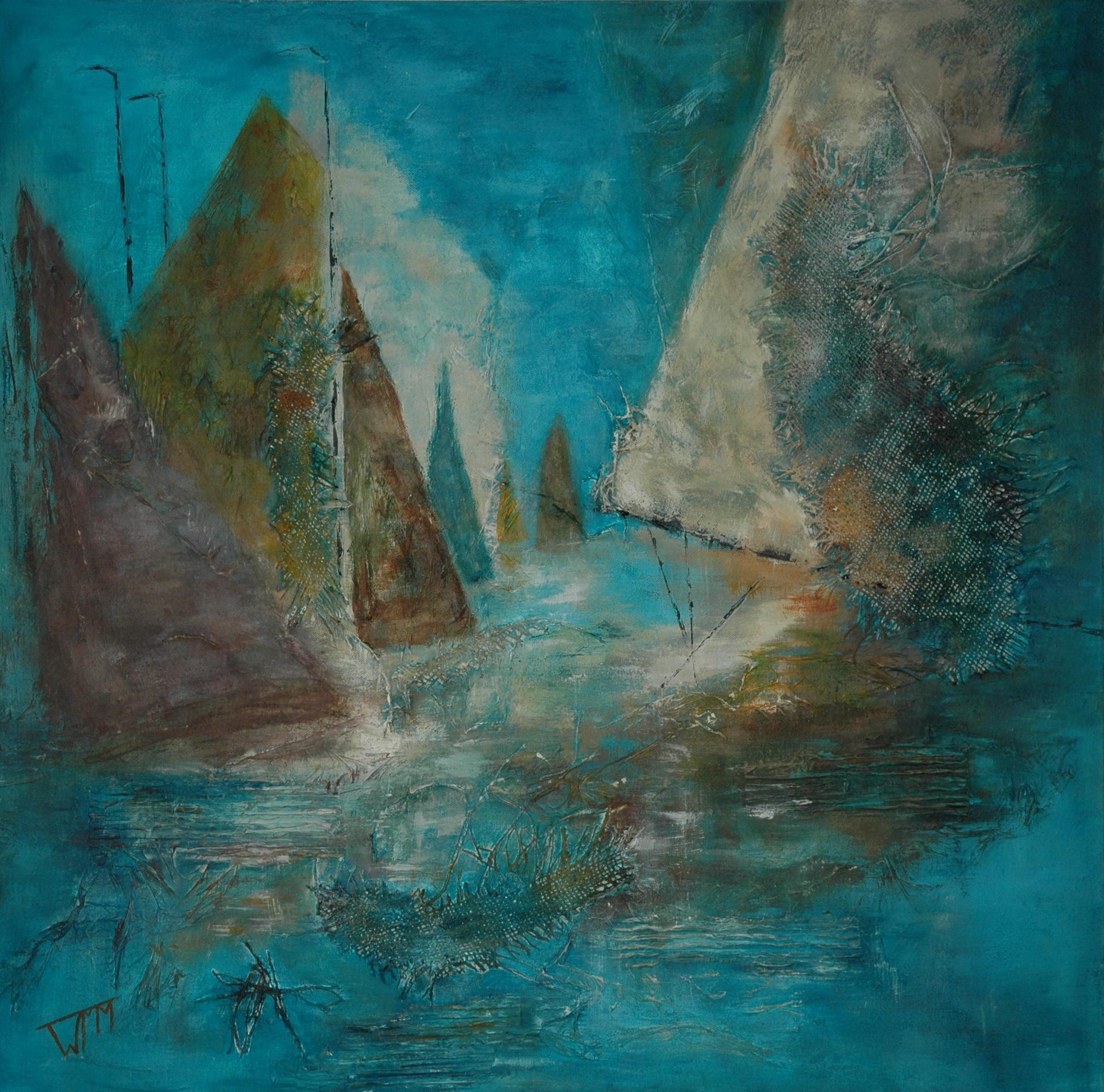 90 x 90 x 4cm, acryl op katoen, met gebruik van materialen (textuur), verkocht