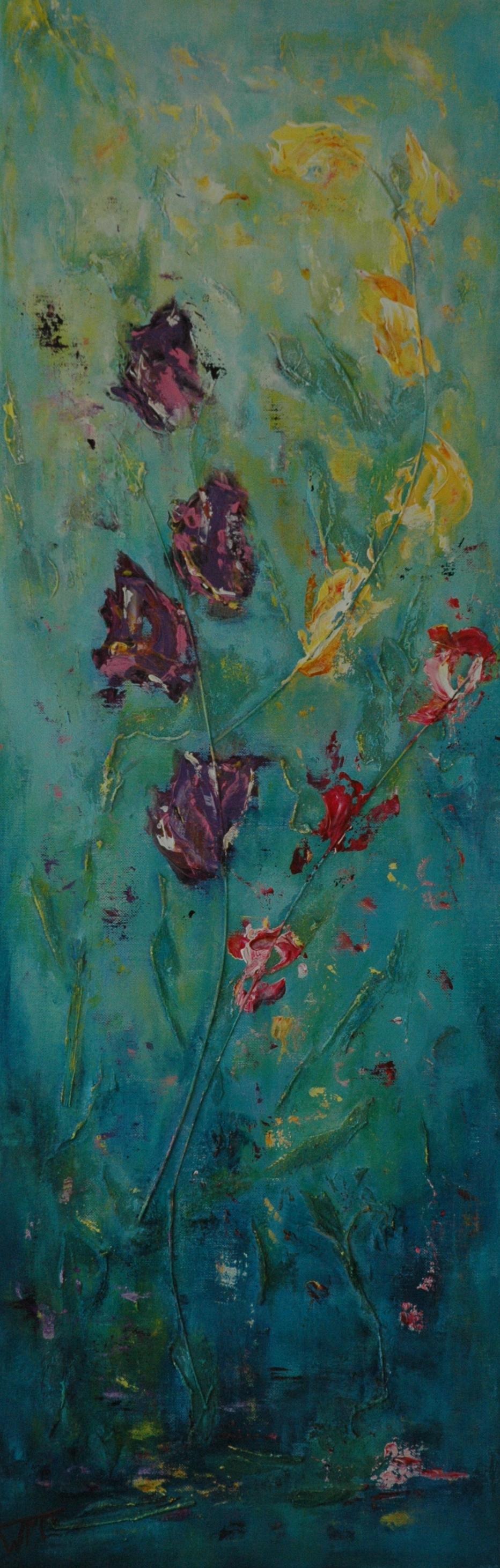 40 x 120cm, acryl op linnen, met gebruik van materialen (textuur), verkocht