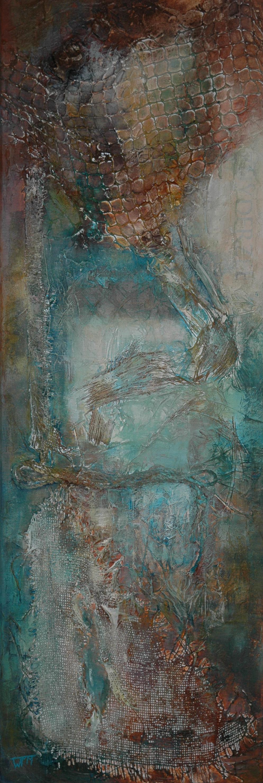 120 x 40cm, acryl op linnen, met gebruik van materialen (textuur), €295,-