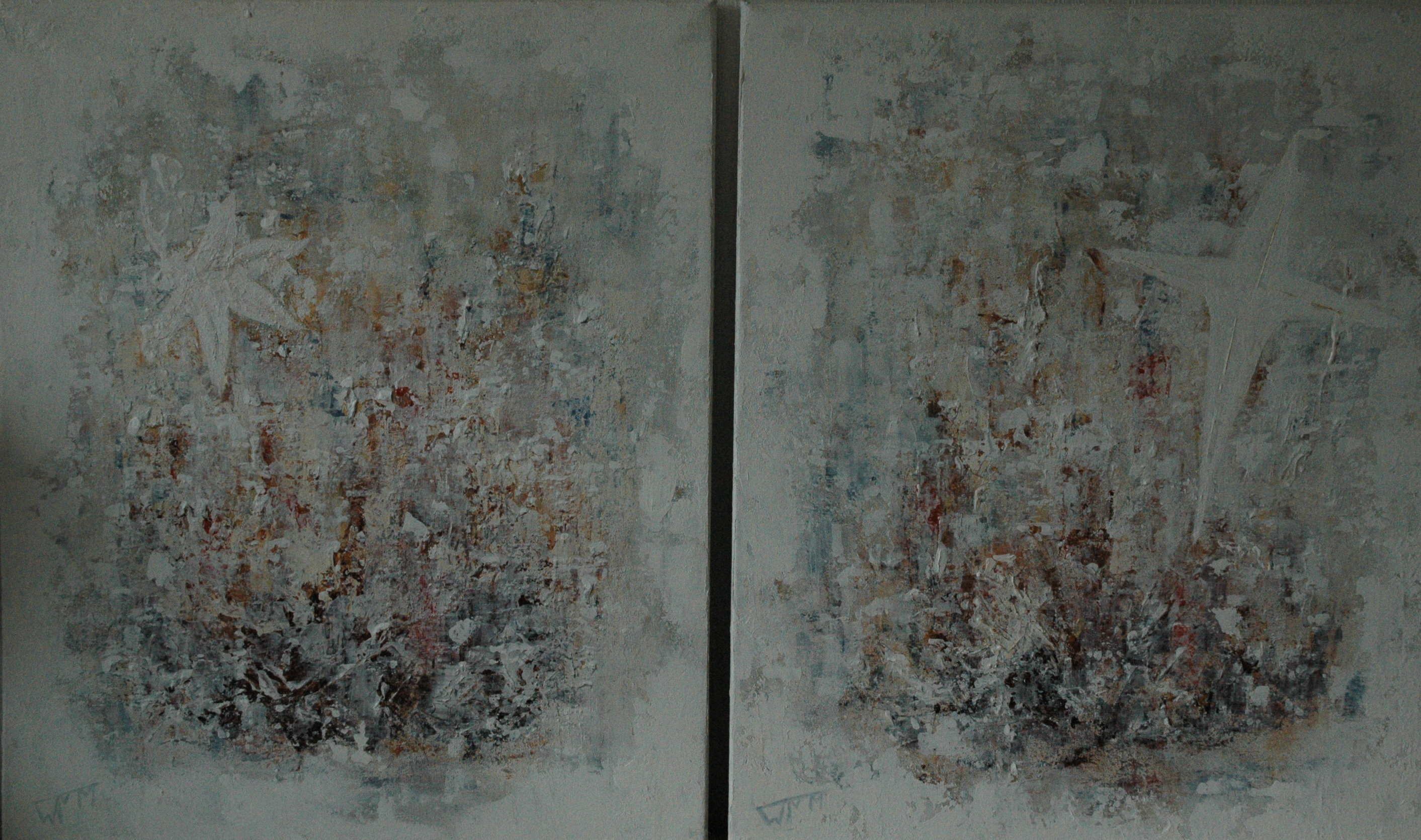 60 x 50cm per doek (2 doeken), acryl op katoen, €285,-