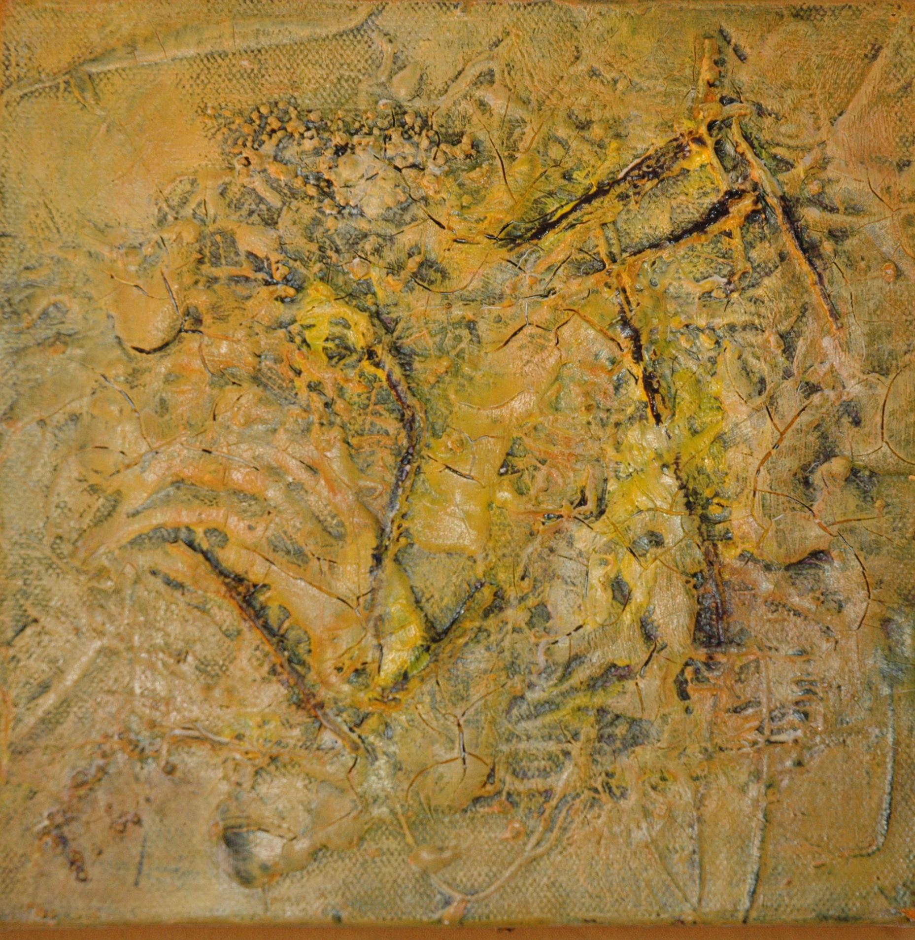 19,5 x 19,5 x 4cm, acryl op katoen, met gebruik van materialen (textuur), deel van een 2-luik (yellow square 1 en 2), €85,- (enkel) €150,- (2-luik)